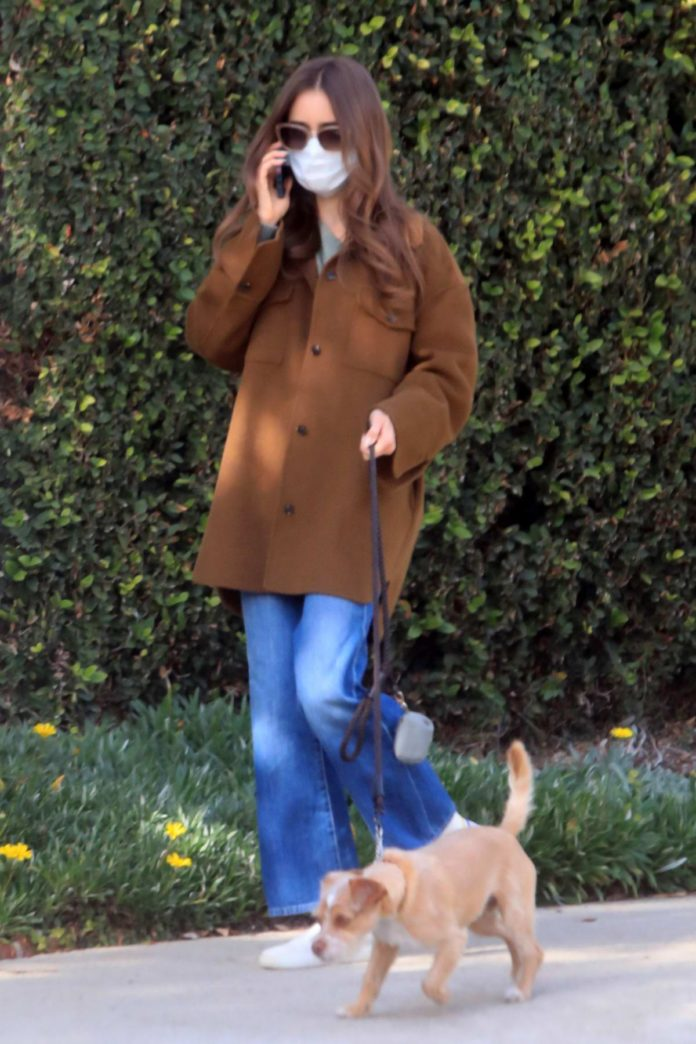 Lily Collins keeps it casual as she steps out to walk her dog in Los Angeles