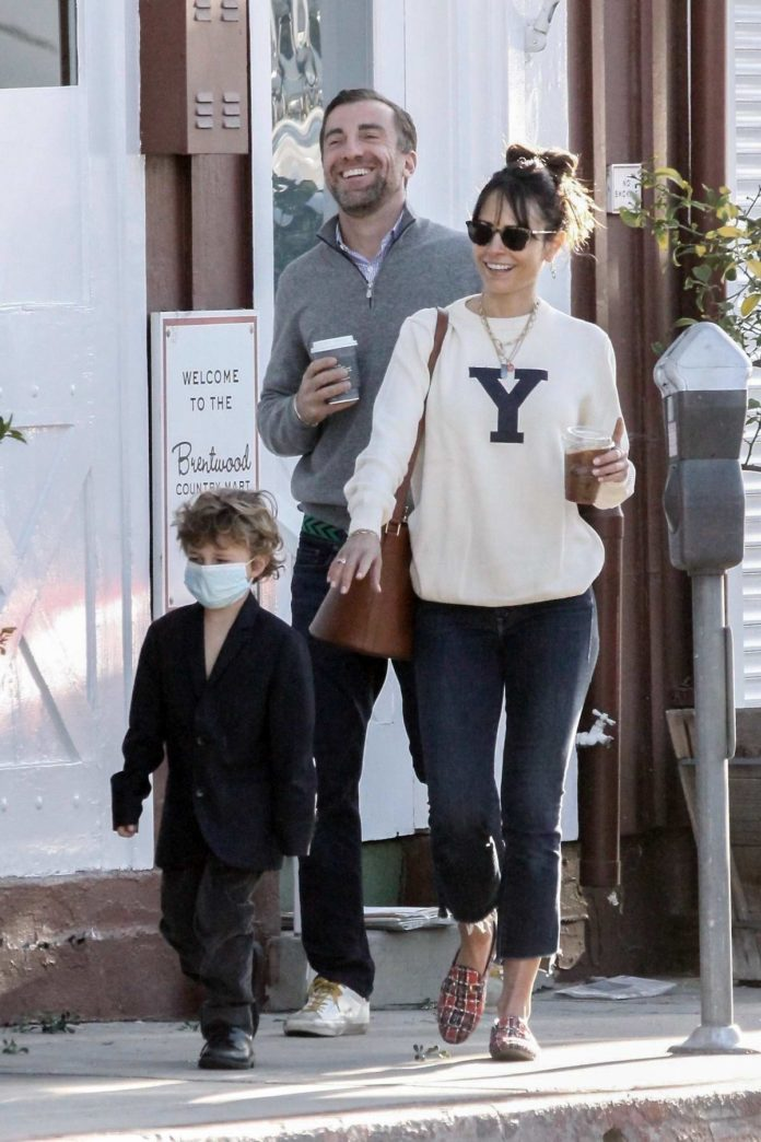 Jordana Brewster is all smiles as she steps out with boyfriend Mason Morfit and her son in Los Angeles