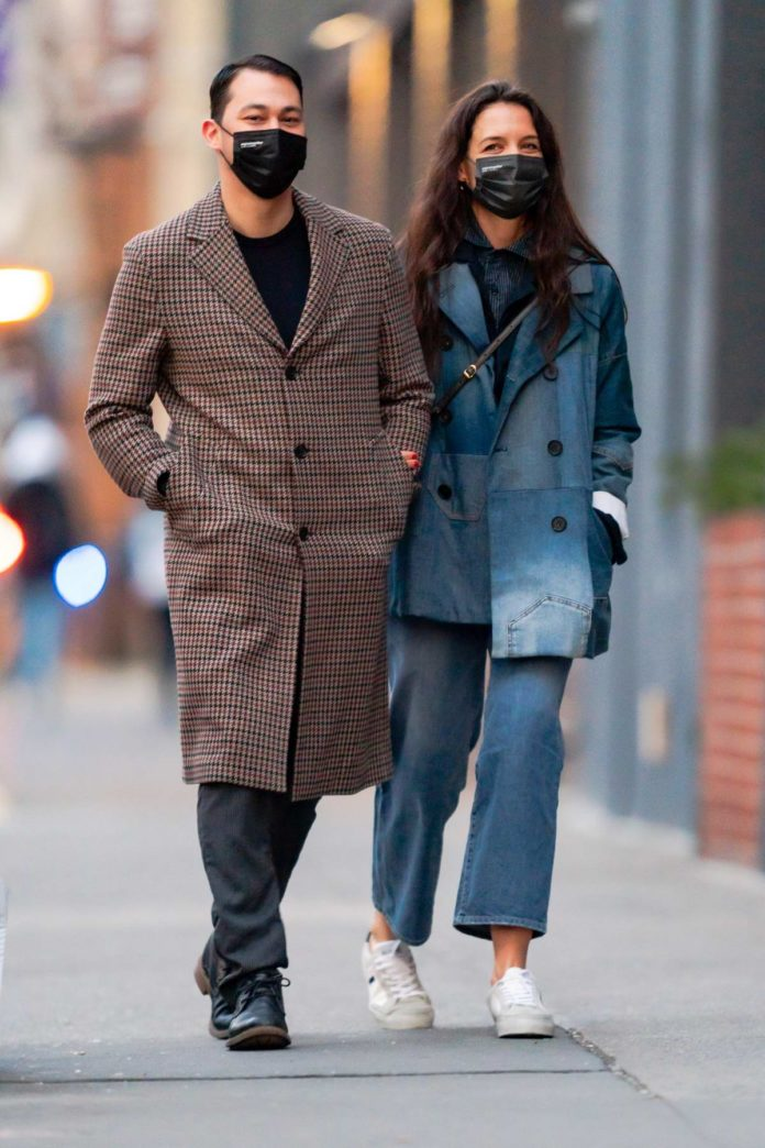 Katie Holmes dons double denim as she and boyfriend Emilio Vitolo Jr go shopping together in Soho, New York City