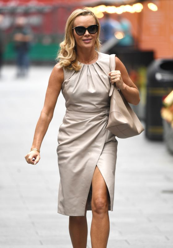 Amanda Holden in a Beige Midi Dress - London 06/17/2021